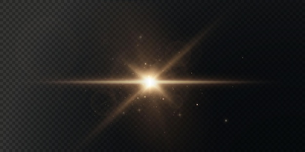 The sun is shining bright light rays with realistic glare christmas light star gold.