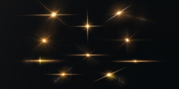 The sun is shining bright light rays with realistic glare light star gold christmas