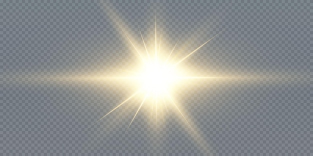 太陽はリアルなまぶしさで明るい光線を輝かせています。
