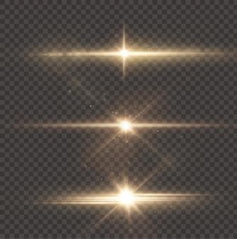 태양은 현실적인 눈부심으로 밝은 광선을 비추고 있습니다.