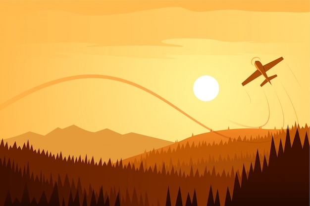 Sun landscape and airplane acrobatics