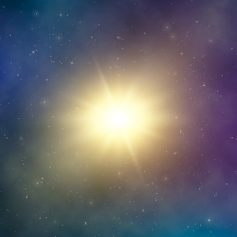 Sun light. abstract bright star in space. dark astral fantasy background.  illustration