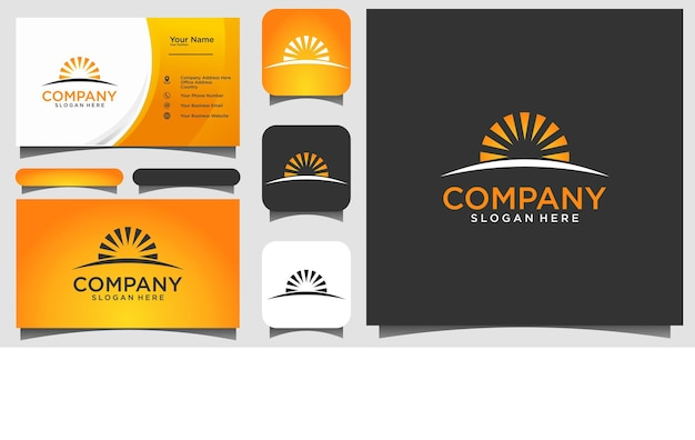 Sun logo design vector with business card