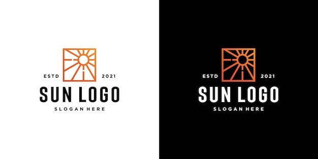 太陽のロゴアイコンデザイン線形