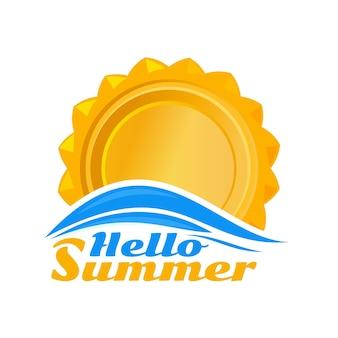 太陽のロゴのアイコン。太陽のアイコンとレタリング-こんにちは夏。白い背景で隔離編集可能なイラスト