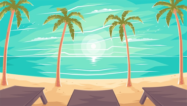 ヤシの木の下の海または海のビーチのサンラウンジャー。ヤシの木の下のビーチに沈む夕日。夏や休日の豪華なビーチ。ビーチのヤシの木の下に沈む夕日。
