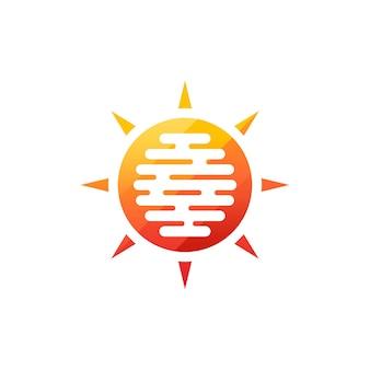 태양 현대 아이콘입니다. 맑은 원 모양입니다. 흰색 배경에 여름 기호 격리 된 벡터 로고 개념