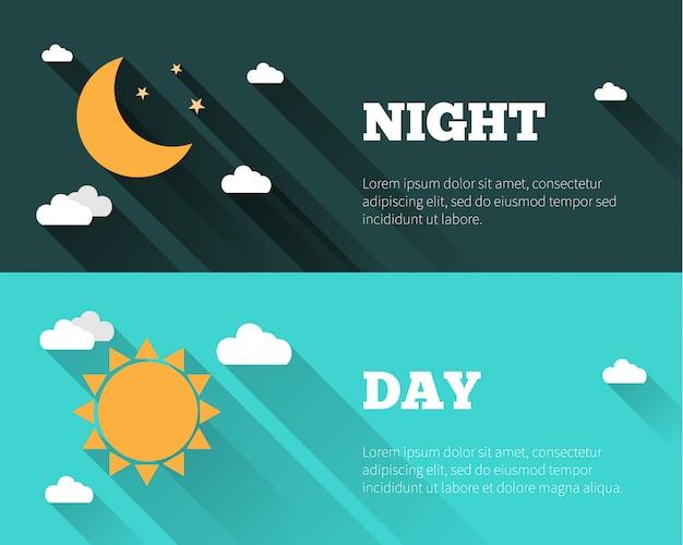 太陽、月、星、雲のアイコン。昼と夜の空のバナー。