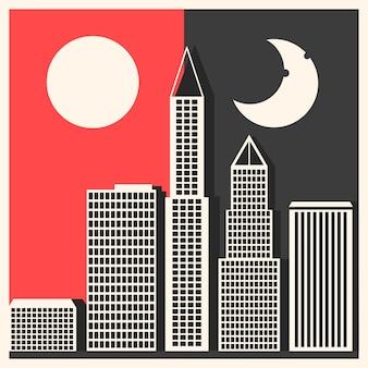 Солнце, луна и звезды. день и ночь векторные баннеры изолированы.