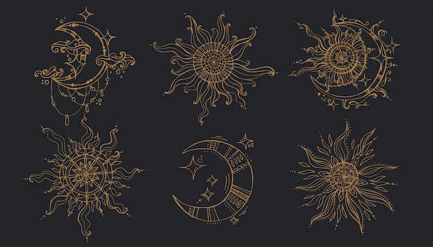 Sun And Moon In Boho Style Premium Vector