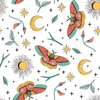Sun, moon, butterfly seamless pattern