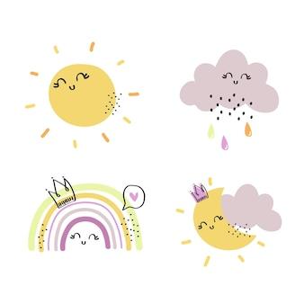太陽の月の雲と虹の要素