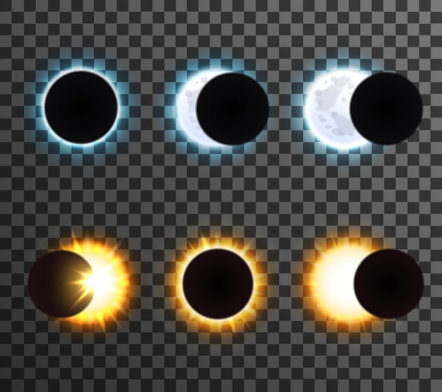 Sun and moon eclipse set
