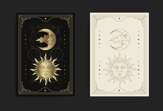 Sun and moon face decorated with sacred geometry and stars