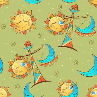 Sun moon libra . children's fun seamless pattern.