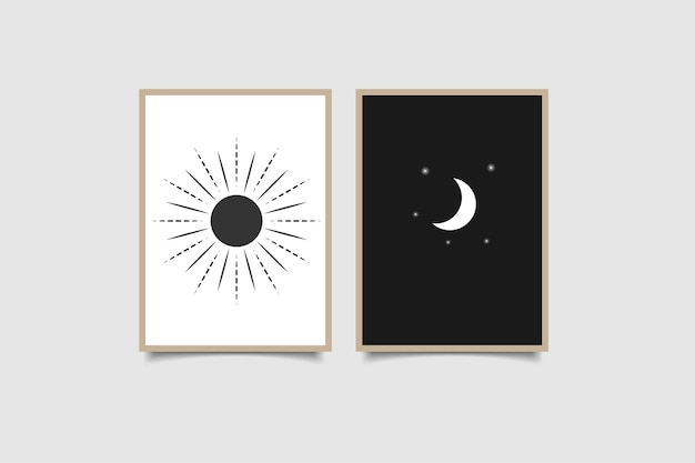 Sun and moon  modern poster black and white color