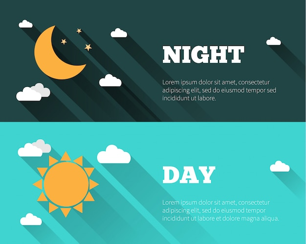 Sun, moon and stars, clouds icons. day and night sky  banners.