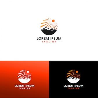 Sun and mountain logo vector download