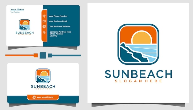 Sun ocean emblem logo design inspiration vector