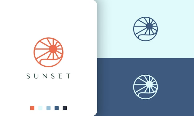 Sun or ocean logo with simple and modern circle shape