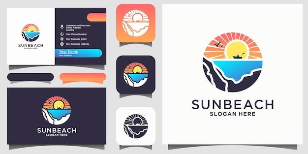 Sun ocean with ship logo design inspiration vector