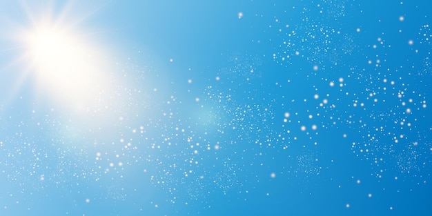 光線とハイライトと青空の背景に太陽