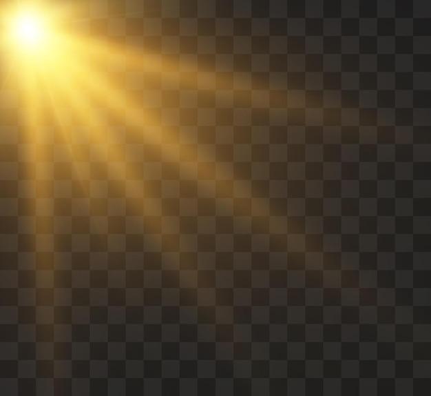 光線とまぶしさのイラストで透明な太陽