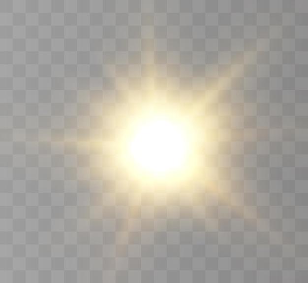 光線とまぶしさのある透明な太陽