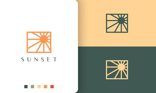 シンプルでモダンなスタイルの太陽またはエネルギーのロゴ