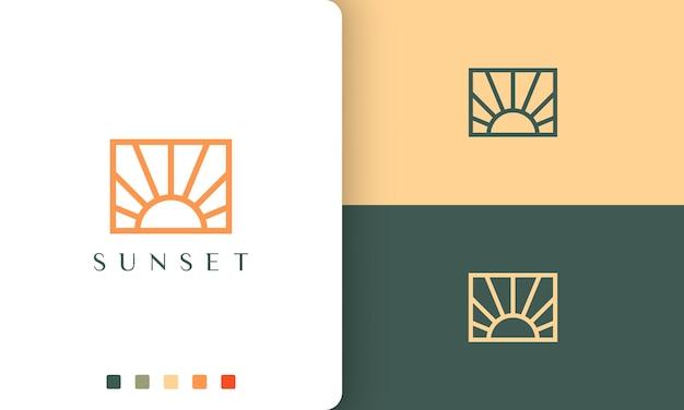 シンプルなラインアートとモダンなスタイルの太陽またはエネルギーのロゴ