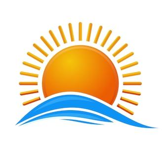 海の上の太陽。日の出のロゴのアイコン。海の波の上の漫画の太陽。白い背景で隔離の図