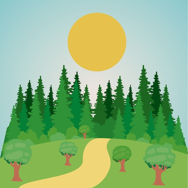 Sun pine trees and landscape icon