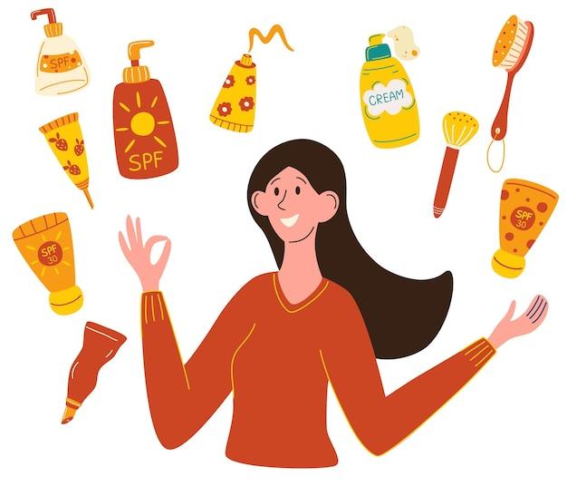 Защита от солнца красивая девушка выбирает солнцезащитный крем бутылка с солнцезащитным кремом женщины используют