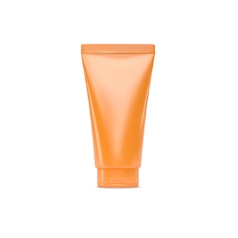 Sun protection cosmetic product of orange plastic cream tube isolated