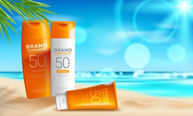 Дизайн косметических средств защиты от солнца с увлажняющим кремом, солнцем и пляжным фоном