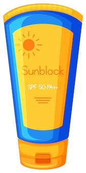 Sun Protection Cream on White Background