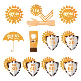 Sun protection designs collection Free Vector