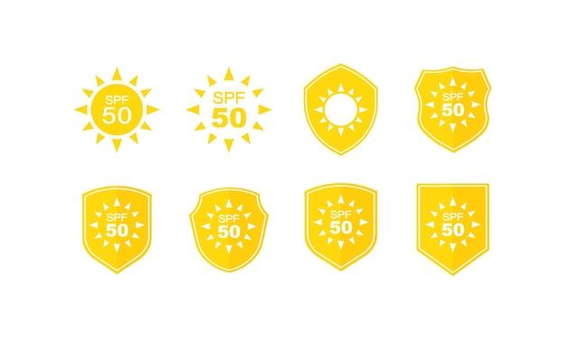 Sun protection labels set. spf 50