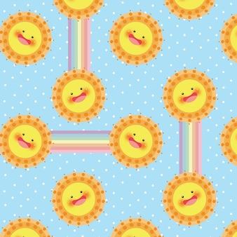 Sun and rainbow vector seamless pattern
