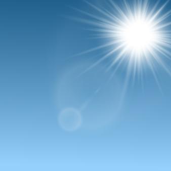 Лучи солнечных лучей и макет световых ракет, реалистичная иллюстрация на небесно-голубом естественном фоне. абстрактный солнечный свет сияет ярким светящимся эффектом шаблона.
