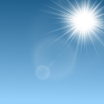 Sun rays beams and light flares layout,  realistic  illustration on sky blue natural background. abstract sunlight shine bright glowing effect template.