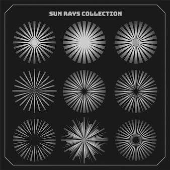 Sun rays beams styles set of nine