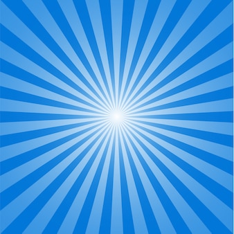 Sun and rays on blue background.