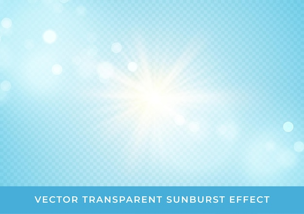 Sun rays blurred bokeh transparent effect isolated on light blue background