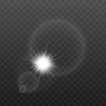 Солнечные лучи или свет лампы накаливания в круглой линзе, реалистичная иллюстрация изолированы