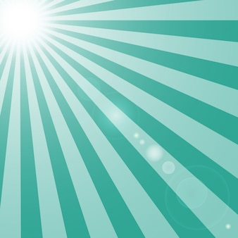 Sun and rays with glare on turquoise background.