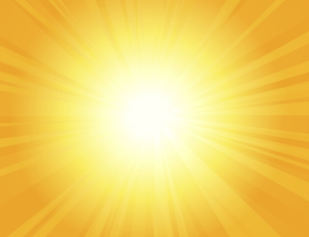 Sun rays with sunbeams on an orange background, bright yellow color burst background, sunrise, yellow retro round lines, starburst, burst summer sunlight