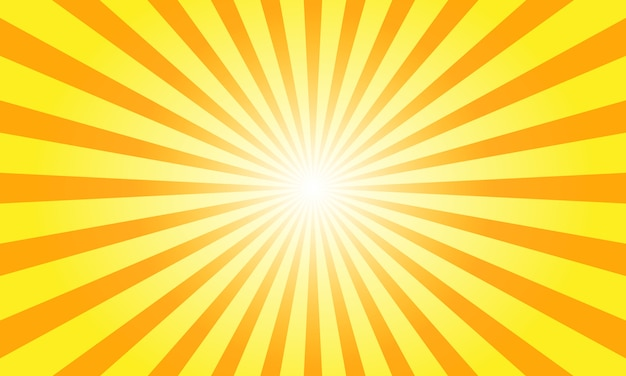 Sun rays with sunburst on orange background.