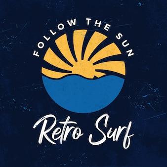 Sun retro surf emblem and logotype design