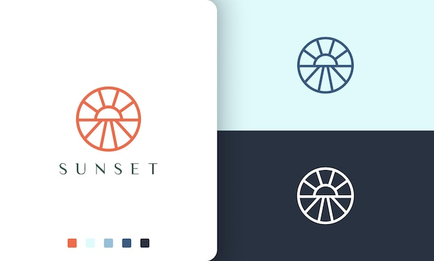 Sun or sea circle logo in simple line art and modern style